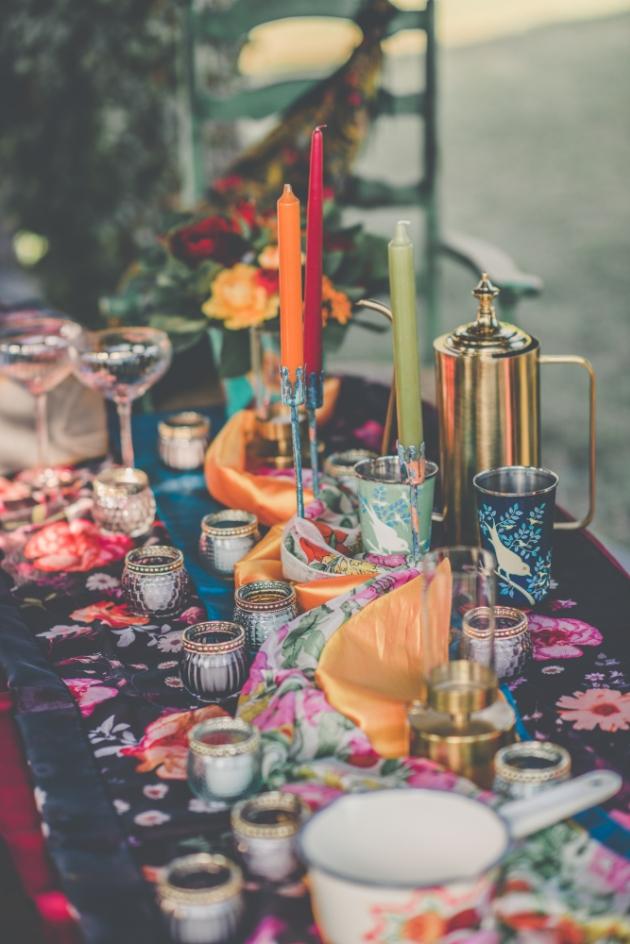 Colourful boho wedding tablescape