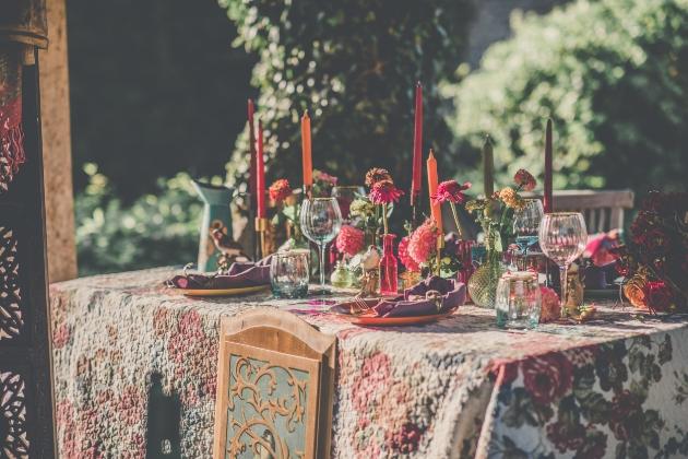 Outdoor boho wedding colourful tablescape