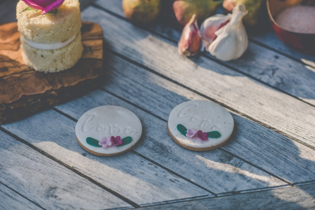 wedding favour cookies with love embossed in the icing