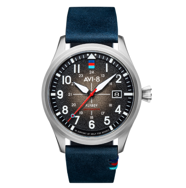 Help for Heroes watch black face, blue strap