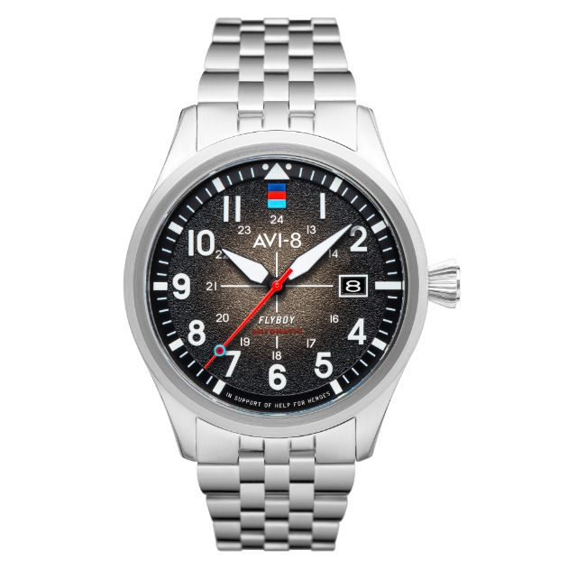 Help for Heroes watch black face, metal silver strap