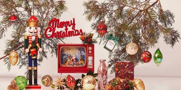 Christmas scene of Fenwick's tree decorations