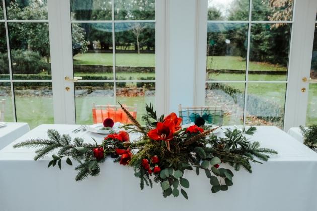 Festive top table arrangement by Patina & Petal