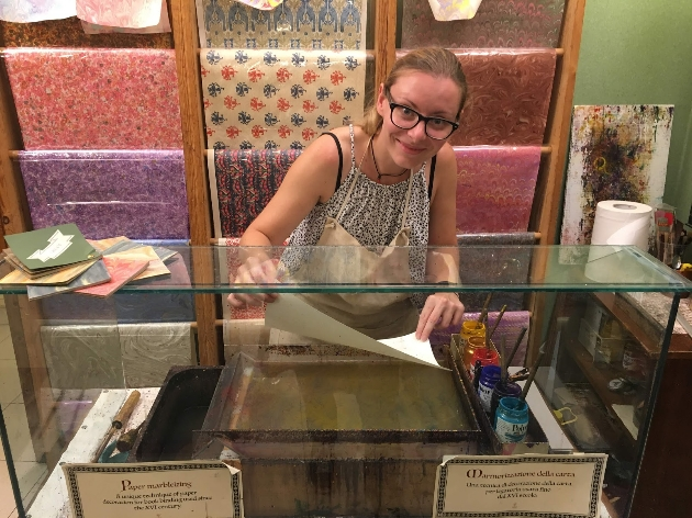 Michela making marbled paper