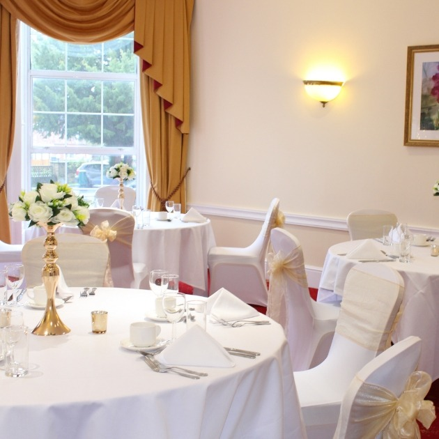 Wedding reception room at Bromley Court Hotel