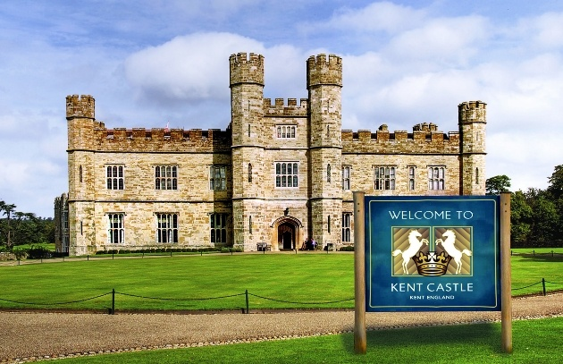 Leeds Castle with the hoax Kent Castle sign outside