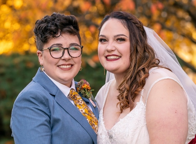 bride and bride on their wedding day