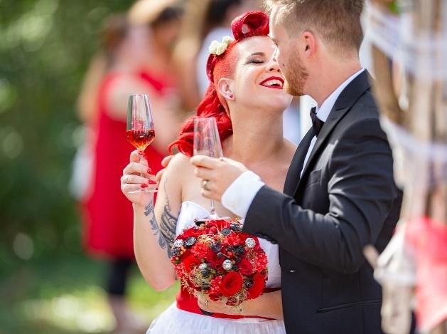 couple on wedding day bride with retro look