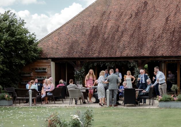Wedding reception happening outside Frasers Wedding Venue