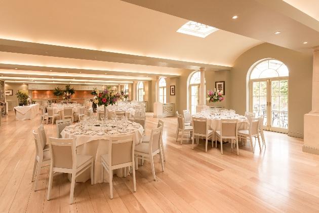 Pavilion Restaurant Hever Castle set up for a wedding